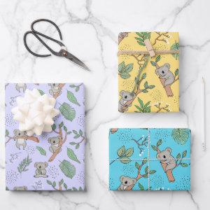 Australia Koala Bear Wrapping Paper Set of 3