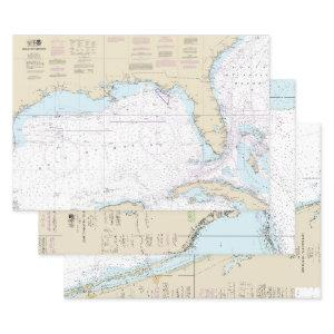 Authentic Florida Nautical Charts Boating Wrapping Paper Sheets