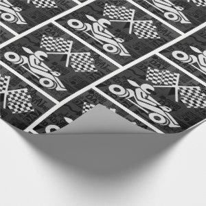 Auto Racing Sports Theme Black and White Wrapping Paper
