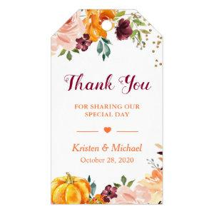 Autumn Fall Pumpkin Burgundy Floral Thank You Gift Tags