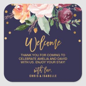 Autumn Floral Wedding Welcome Square Sticker