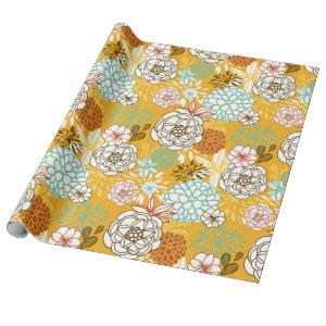 Autumn Flowers and Leaves Wrapping Paper