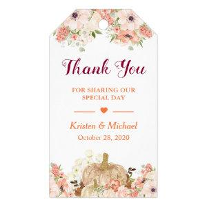 Autumn Gold Glitters Pumpkin Floral Fall Thank You Gift Tags