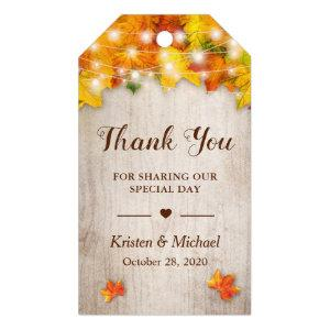 Autumn Gold Maple Leaves String Lights Thank You Gift Tags