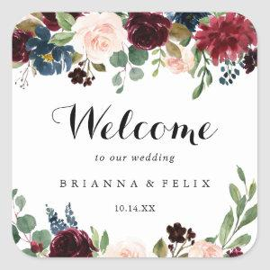 Autumn Rustic Burgundy Calligraphy Wedding Welcome Square Sticker