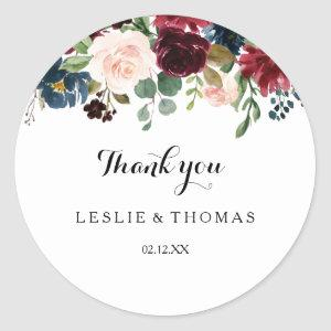 Autumn Rustic Dazzling Burgundy Thank You Favor Classic Round Sticker
