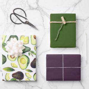 Avocado Blossoms | Dark Green Rustic Fruit Pattern Wrapping Paper Sheets