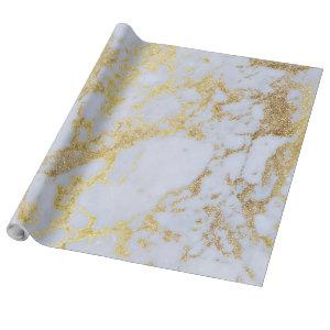 Awesome trendy modern faux gold glitter marble wrapping paper