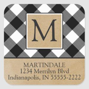 B&W Buffalo Check & Kraft Paper Return Address Square Sticker