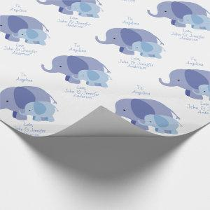 Baby Blue Elephant Wrapping Paper