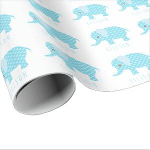 Baby Blue Elephants Pattern Boys Baby Shower Name Wrapping Paper