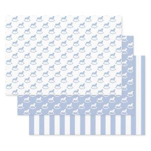 Baby Blue Rocking Horse Wrapping Paper Sheets
