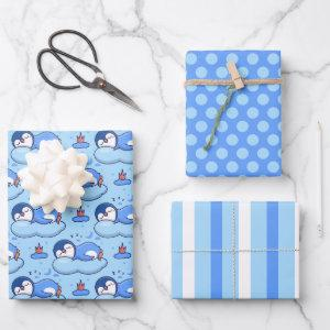 Baby Blue Sleeping Penguin Wrapping Paper Set
