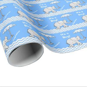 Baby Boy Elephant Baby Shower Wrapping Paper