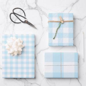 Baby Boy Pastel Blue Gingham Plaid Multi Wrapping Paper Sheets