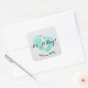 BABY & CO It's A Boy Baby Shower Sprinkle Party Square Sticker
