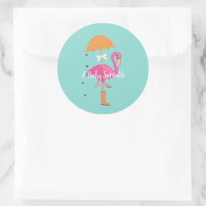 BABY & CO Lets Flamingle Sprinkle Shower Party Classic Round Sticker