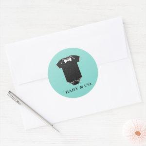 BABY & CO Little Man Baby Shower Sprinkle Party Classic Round Sticker
