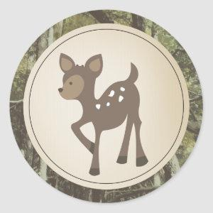 Baby Deer Camo Baby Shower Classic Round Sticker