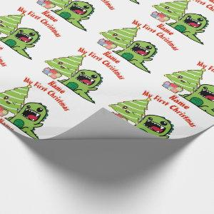 Baby FIRST Christmas WRAPPING DINOSAUR Custom Wrapping Paper