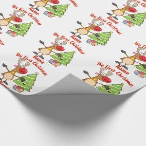 Baby FIRST Christmas WRAPPING Reindeer Custom