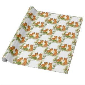 Baby Foxes Holly Bird Christmas Wrapping Paper