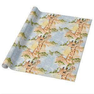 Baby Giraffe Africa Savanna Animals brown gold Wrapping Paper
