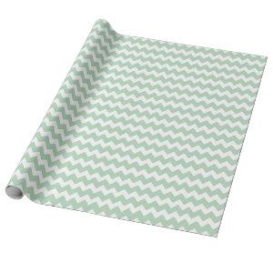 Baby Girl or Boy Green White Zigzag Chevron Stripe Wrapping Paper