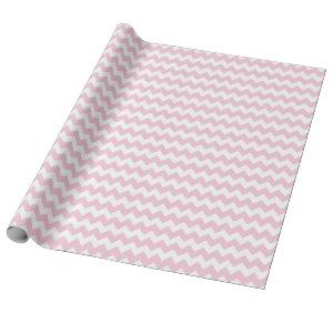 Baby Girl Pink and White Zigzag Chevron Stripes Wrapping Paper