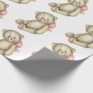 Baby Girl Teddy Bear Pink Watercolor Wrapping Paper