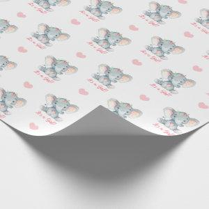 Baby Girl Wrapping Paper Pink Elephant It's A Girl