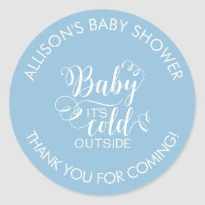 Baby It's Cold Outside Boys Shower Favor Sticker