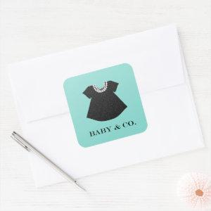 BABY Little Black Dress Baby Sprinkle Shower Party Square Sticker