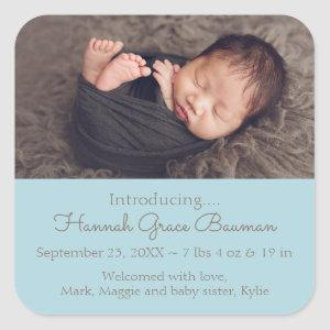 Baby Photo Blue Birth Announcement Stickers