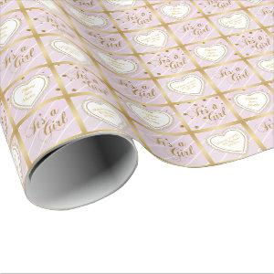 Baby Pink & Gold Confetti - Baby Girl Wrapping Paper