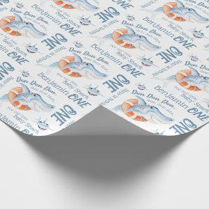 Baby shark 1st birthday custom name watercolor wrapping paper