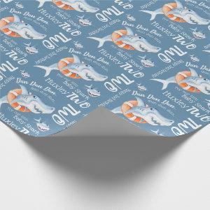 Baby shark 2nd birthday custom watercolor art wrapping paper