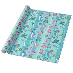 Baby Shark Family Doo Doo Happy Birthday Wrapping Paper