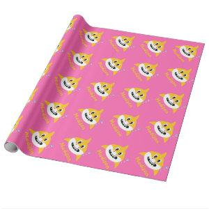Baby Shark Pink Yellow Wrapping Paper