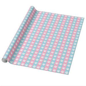 Baby Shower - Blue and Pink - Paw Print Theme Wrapping Paper