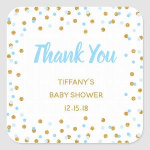 Baby Shower Favor Stickers Blue Gold Glitter