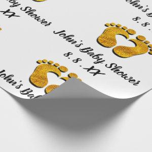 Baby Shower Name Date Feet heart Black White Gold Wrapping Paper
