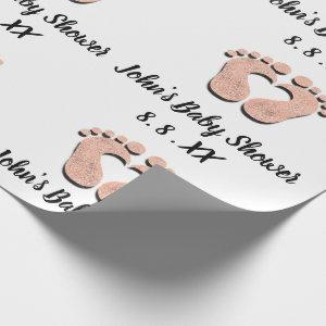 Baby Shower Name Date Feet heart Black White Rose Wrapping Paper
