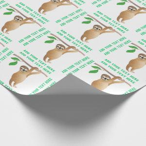 Baby Sloth Cute Personalized Custom Color Wrapping Paper