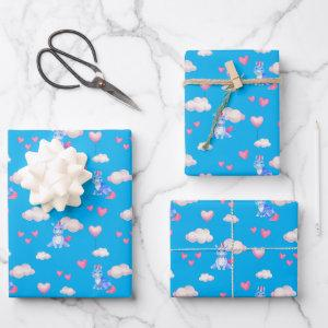 Baby Unicorns Pink Hearts Clouds Whimsical Wrapping Paper Sheets