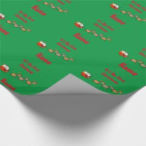 Babys 1st Christmas Funny Glossy Green Wrapping Paper