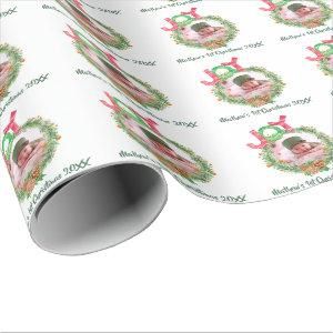 Babys 1st Christmas PHOTO Wreath Named Keepsake Wrapping Paper