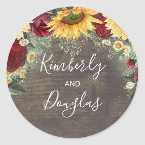 Baby's Breath Sunflowers Burgundy Roses Fall Classic Round Sticker