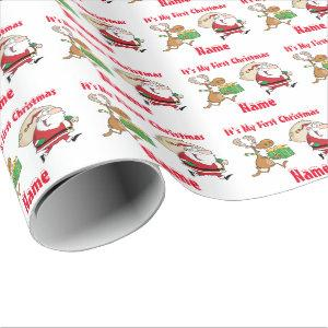 Babys First Christmas named Giftwrap Funny Santa Wrapping Paper