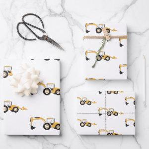 Backhoe Construction Truck Wrapping Paper Sheets